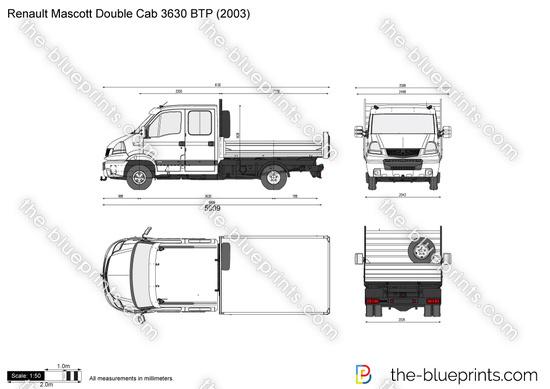Renault Mascott Double Cab 3630 BTP vector drawing