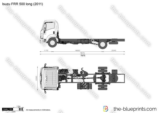 Isuzu FRR 500 long vector drawing