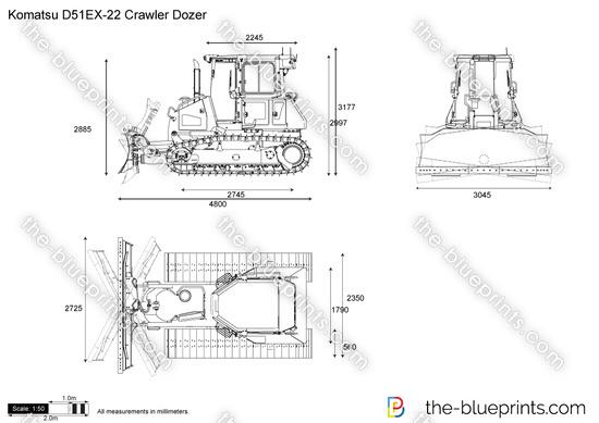 Komatsu D51EX-22 Crawler Dozer vector drawing