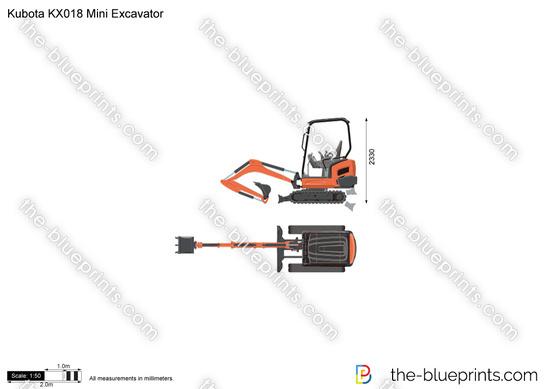 Kubota KX018 Mini Excavator vector drawing
