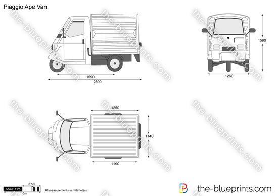 Piaggio Ape Van vector drawing