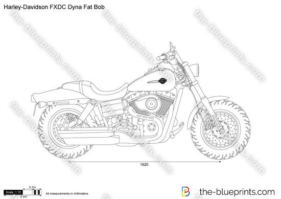 Harley-Davidson FXDC Dyna Fat Bob vector drawing