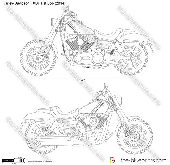 Harley-Davidson FXDF Fat Bob vector drawing