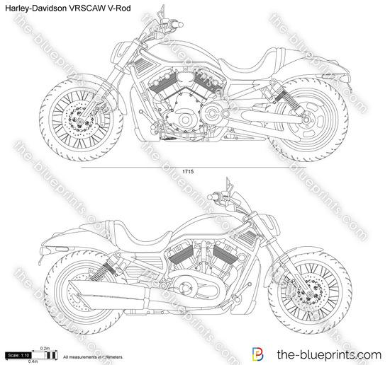 Harley-Davidson VRSCAW V-Rod vector drawing
