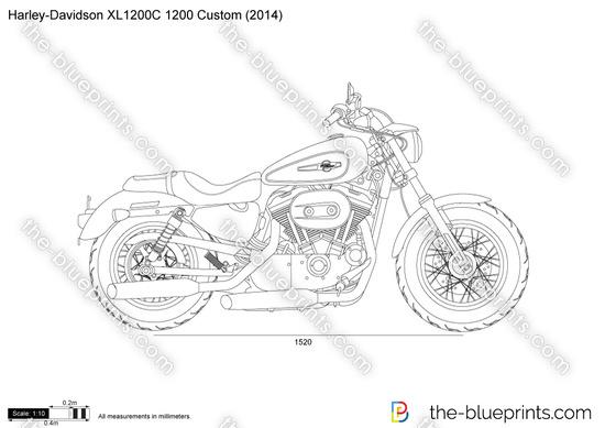 Harley-Davidson XL1200C 1200 Custom vector drawing