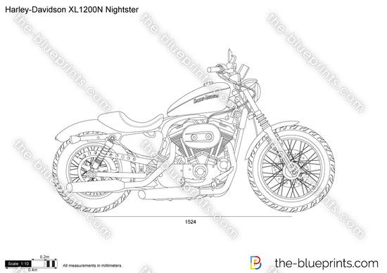 Harley-Davidson XL1200N Nightster vector drawing