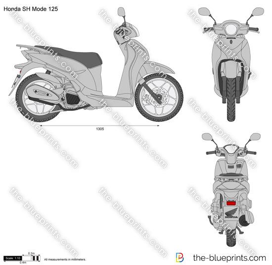 Honda SH Mode 125 vector drawing