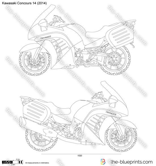 Kawasaki Concours 14 vector drawing