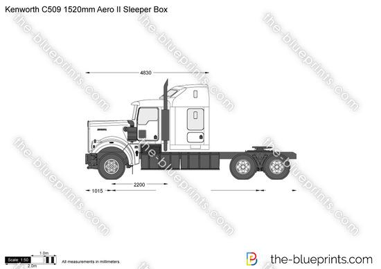 Kenworth C509 1520mm Aero II Sleeper Box vector drawing