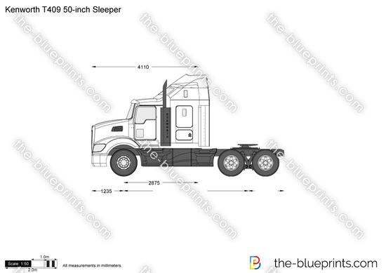 Kenworth T409 50-inch Sleeper vector drawing