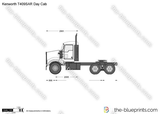 Kenworth T409SAR Day Cab vector drawing