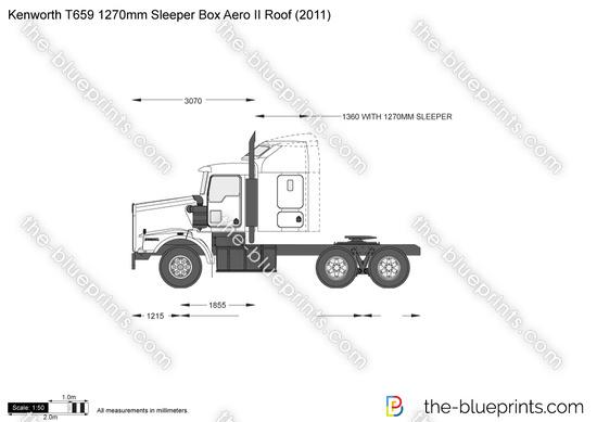Kenworth T659 1270mm Sleeper Box Aero II Roof vector drawing