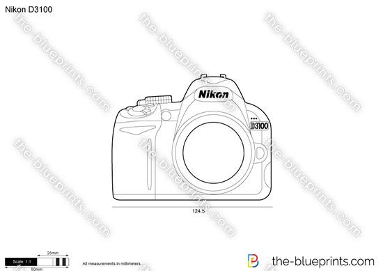 Nikon D3100 vector drawing