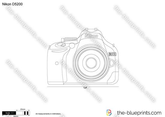 Nikon D5200 vector drawing