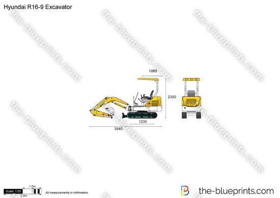 Hyundai R16-9 Excavator vector drawing