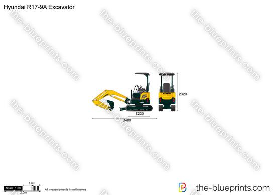 Hyundai R17-9A Excavator vector drawing