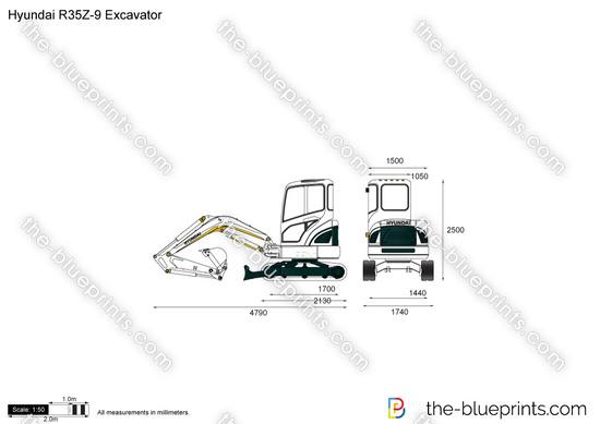 Hyundai R35Z-9 Excavator vector drawing