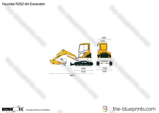 Hyundai R25Z-9A Excavator vector drawing