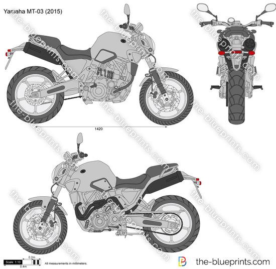 Yamaha MT-03 vector drawing