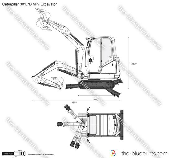 Caterpillar 301.7D Mini Excavator vector drawing