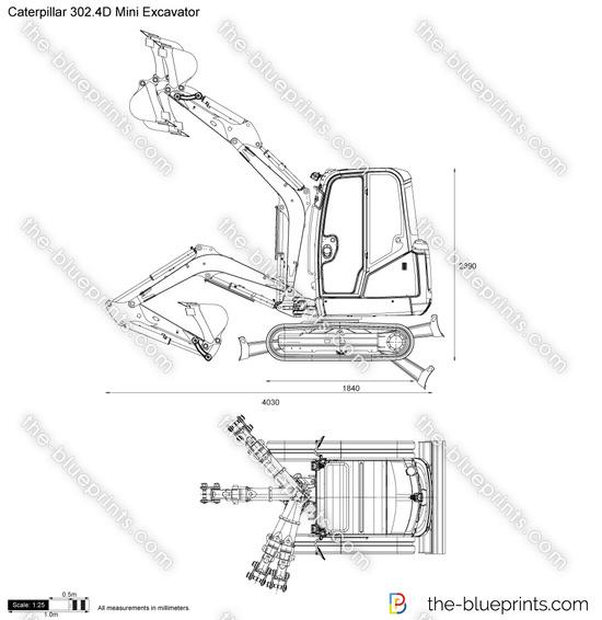 Caterpillar 302.4D Mini Excavator vector drawing