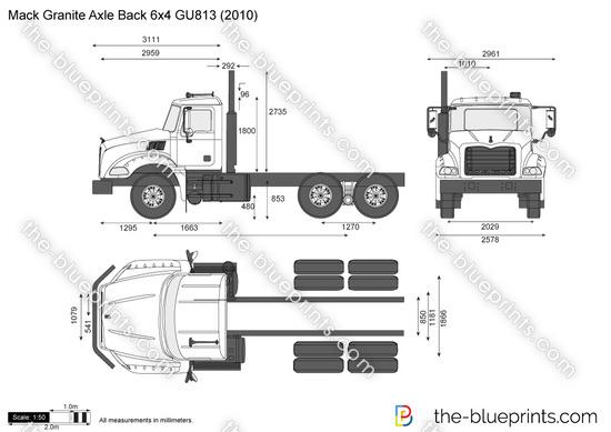 Mack Granite Axle Back 6x4 GU813 vector drawing