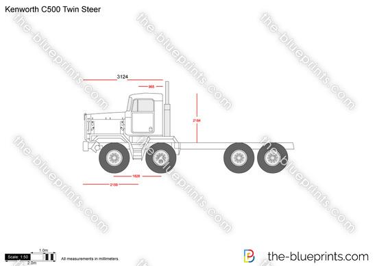 Kenworth C500 Twin Steer vector drawing