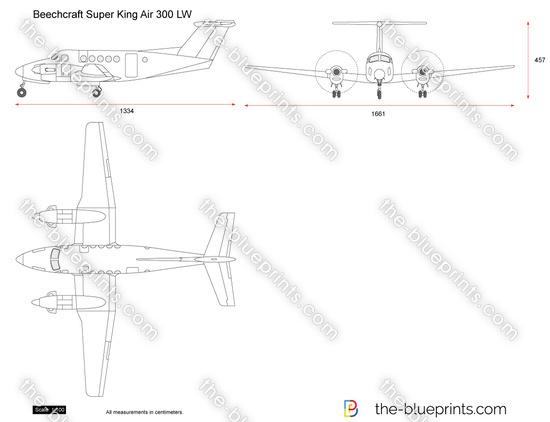 Beechcraft Super King Air 300 LW vector drawing