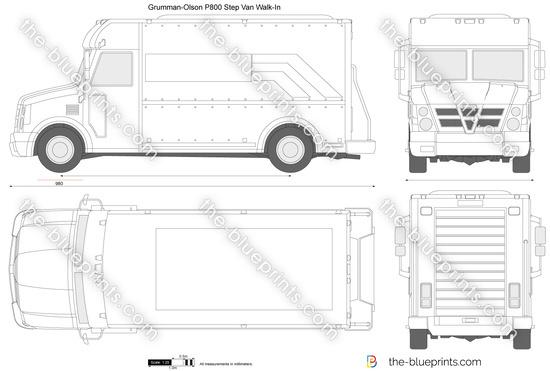 Grumman-Olson P800 Step Van vector drawing