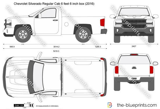 Chevrolet Silverado Regular Cab 6 feet 6 inch box vector