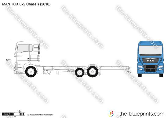MAN TGX 6x2 Chassis vector drawing