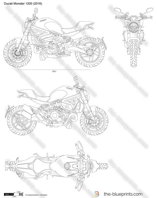 Ducati Monster 1200 vector drawing