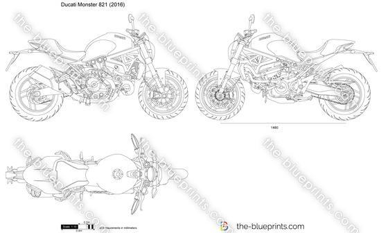 Ducati Monster 821 vector drawing