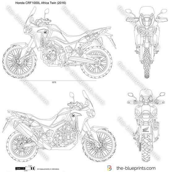 Honda CRF1000L Africa Twin vector drawing