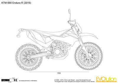 KTM 690 Enduro R vector drawing
