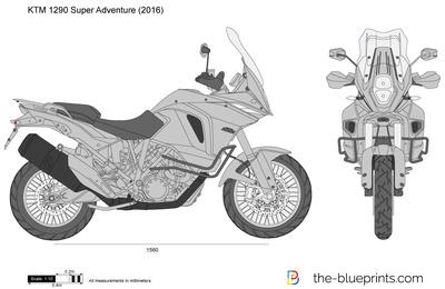KTM 1290 Super Adventure vector drawing