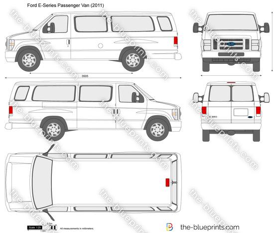 Ford E-Series Passenger Van vector drawing