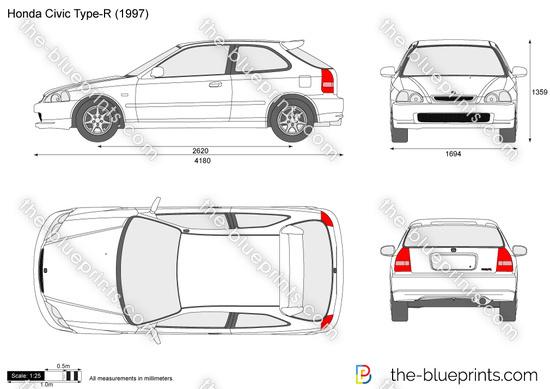 Honda Civic Type-R vector drawing