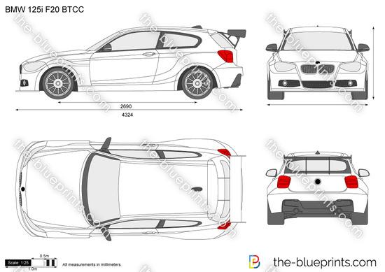 BMW 125i F20 BTCC vector drawing