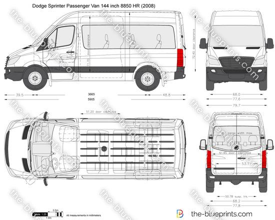 Dodge Sprinter Passenger Van 144 inch 8850 HR vector drawing