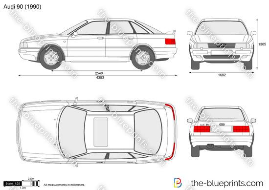 Audi 90 vector drawing