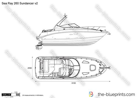Sea Ray 260 Sundancer v2 vector drawing