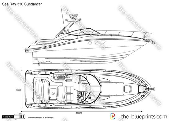 Sea Ray 330 Sundancer vector drawing