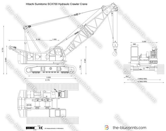 Hitachi Sumitomo SCX700 Hydraulic Crawler Crane vector drawing