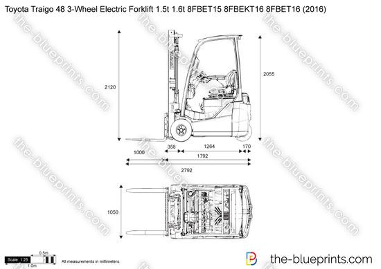 Toyota Traigo 48 3-Wheel Electric Forklift 1.5t 1.6t