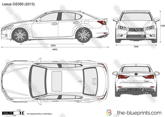 Lexus GS350 vector drawing