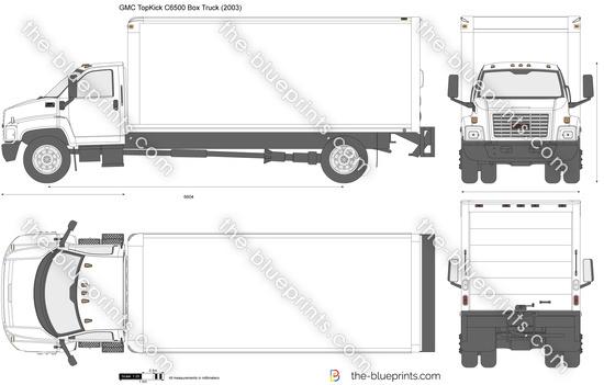 GMC TopKick C6500 Box Truck vector drawing