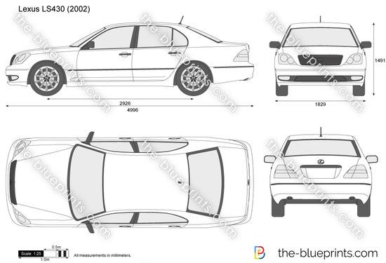 Lexus LS430 vector drawing