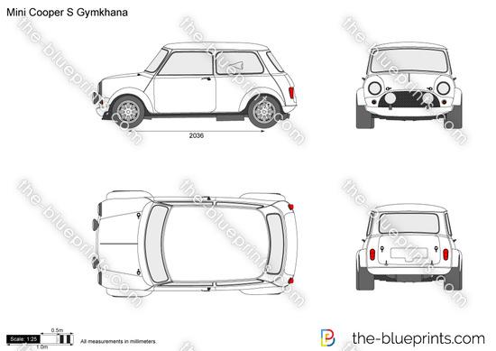Mini Cooper S Gymkhana vector drawing