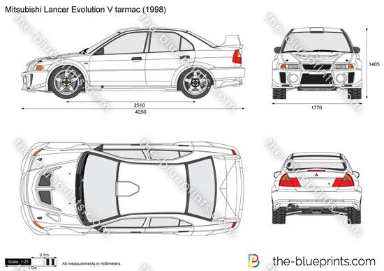 Mitsubishi Lancer Evolution V tarmac vector drawing